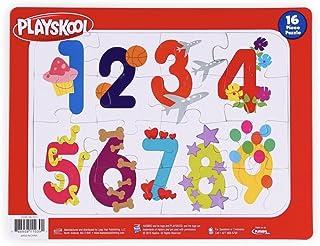 PLAYSKOOL 2 件套 11.5 英寸 x 9 英寸数字和字母 16 片拼图带框架托盘的*礼物!