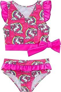 Vieille 幼童女婴两件套泳衣荷叶边分体泳衣套装小儿童泳衣泳装
