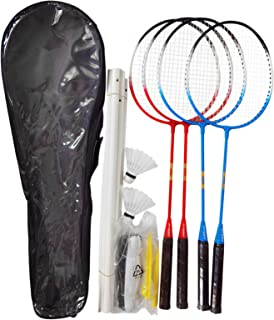 Elite 羽毛球拍 4 件装,羽毛球套装,4 个尼龙球拍,4 个运动员运动羽毛球网,2 个羽毛球鸟 / 球运动便携式户外室内沙滩游戏,适合成人儿童