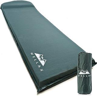 WELLAX 超厚弹性泡沫睡垫 - 自充气的 7.62 厘米野营垫,适合背包、旅行和远足 - 7.62 厘米厚,更加稳定和支撑 Plus 维修套件