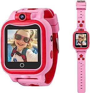 Rindol 3-8 岁女孩儿童手表自拍相机智能手表儿童学习*玩具生日礼物,适合 4-10 岁的女孩使用