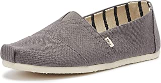 TOMS 男式经典亚麻 rope-sole 舒适易装一脚蹬 Shade Gray Heritage Canv 7 D(M) US