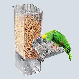 鸟类喂食器 鹦鹉集成自动喂食器 带栖息笼配件 适用于Budgerigar Canary 鹦鹉雀鹦鹉种子食品容器