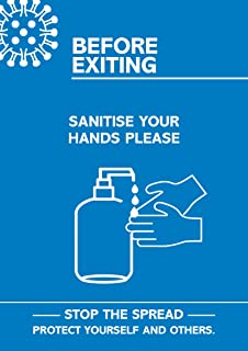 "SECO Coronavirus Essential 海报 - ""Exiting - Sanitise Your Hands"",A4,蓝色和白色"