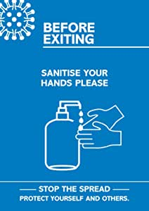 """SECO Coronavirus Essential 海报 - """"Exiting - Sanitise Your Hands"""",A4,蓝色和白色"""