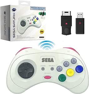 Retro-Bit 官方 Sega Saturn 2.4 GHz 无线控制器 8 按钮街机平板 - 白色