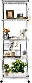 Devo 5 层可调节金属架,带挂钩,重型货架单元和储物收纳架,适用于厨房车库衣柜,洗衣室,浴室 23 英寸长 x 14 英寸宽 x 72 英寸高(银色)