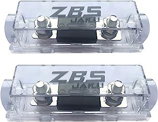 ZBSJAKU 0/2/4/8 AWG ANL 保险丝支架(2 件装)+100 安培 ANL 保险丝(2 件装) 适用于汽车音频/警报/放大器(2 件装)