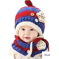 男婴女孩冬季帽子可爱棒球帽围巾耳罩帽子儿童