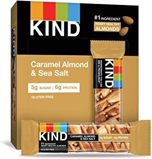 KIND 焦糖杏仁和海盐棒,无麸质,低糖,1.4盎司,40克,12块