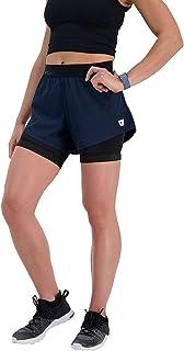 WOLACO 女式 Grand 2 合 1 健身短裤,运动透气健身短裤,带口袋