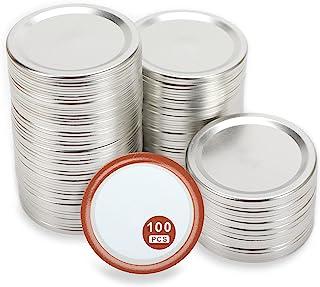 带硅胶密封圈的常规口罐盖,防漏梅森罐盖,分体式金属梅森罐盖,适用于球,Kerr 罐 100 件