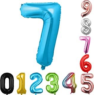 40 英寸大数字气球蓝色气球巨型氦气球 数字 0 1 2 3 4 5 6 7 8 9 生日周年纪念派对婴儿淋浴婚礼装饰节日气球(蓝色 7)
