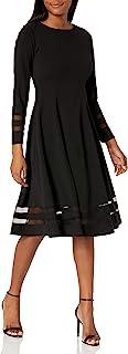 Calvin Klein 女士长袖 A 字裙,带错综衬里