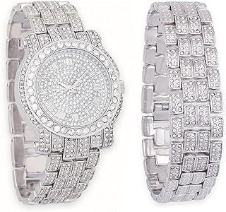 男士 45 毫米银色手表,带仿钻石和冰边手链 | 2 件套组合套装 | 日本机芯