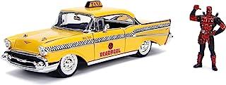 Jada 1957 雪佛兰 Bel Air 出租车黄色与死侍压铸人物漫威系列 1/24 压铸模型汽车 30290,多色