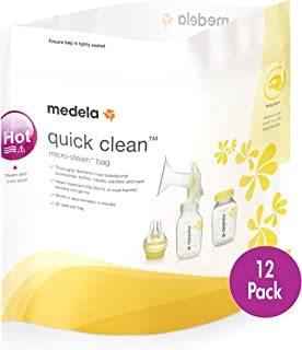 Medela 美德乐 Quick Clean Micro-Steam 袋,12 只装奶瓶和吸乳器零件*袋,消除99.9% 的常见 12 包