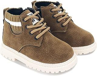 BEBARFER 幼儿男童女童靴防水及踝马丁登山靴防滑橡胶鞋底户外鞋(幼儿/小童)