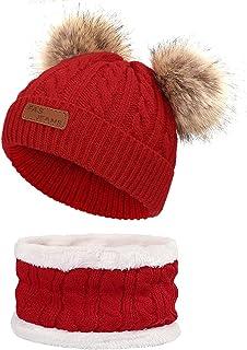 ACTLATI 儿童冬季帽子和围巾套装针织帽颈部保暖器带可拆卸毛球,适合 1-6 岁儿童、男孩和女孩