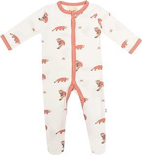 KYTE BABY 中性柔软竹纤维人造丝连脚服,按扣封口,印花,0-24 个月 红熊猫 Newborn