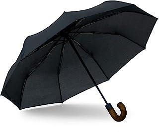 Topline 经典小巧便携式黑色旅行雨伞 - 深木 J 形挂钩手柄
