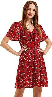 SONJA BETRO 女式花卉印花绉纱前系带V领斗篷袖修身喇叭及膝连衣裙加大码
