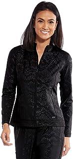 BARCO ONE 2 口袋女式高领时尚印花夹克 - *磨砂夹克 Black Glimmer Print Small