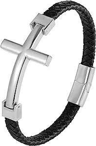 都市珠宝时尚男士十字架手链 – 发光银色或金色饰面 – 防锈和变色不锈钢饰品 – 黑色真皮绳绳