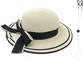 女孩旅行透气太阳沙滩草帽儿童蝴蝶结软檐可折叠宽帽檐卷起保护 UV UPF 50+ 可调节帽
