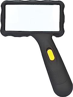 MG 84026AL - LED 阅读放大镜/手持放大镜大镜片(100 毫米 x 50 毫米)大约2倍放大倍 - 2个LED灯 - 带玻璃镜片 - 准备就绪 - + 1个清洁套装