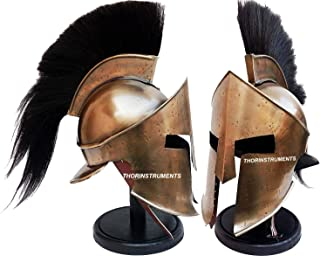 Medieval Armour King Leonidas 希腊斯巴达 300 罗马头盔,带黑色木质支架