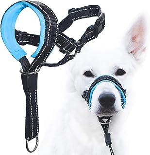 GoodBoy 狗头挂脖带*带 - 防止重拉绳 - 软垫头领适合小型、中型和大型犬尺寸 - 包含头颈训练指南 蓝色 3