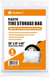 VICMORE 塑料轮胎存储袋 4 件套,适用于高达 22 英寸(约 55.9 厘米)的轮胎 高级白色轮胎存储袋 便携式轮罩袋 通用款
