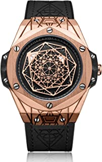 男士手表 时尚自动石英腕表 酷炫几何图案 防水手表 皮革表带