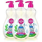 Dapple Baby 无香料洗碗液,瓶装,植物基,低变应原性,包括1个泵,16.9盎司液体/500ml(3件)(包装可…