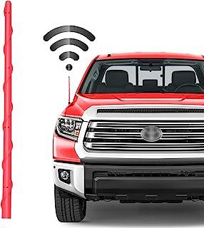 VOFONO 13 英寸红色天线兼容丰田 Tundra (2000-2020) 和塔科马 (2000-2015) | 防水弹性橡胶杆螺纹天线面罩专为优化 FM/AM 接收而设计