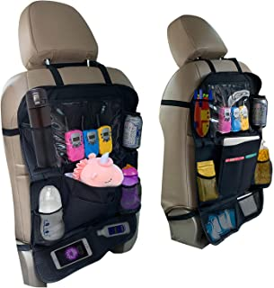 Elitebest 后座汽车收纳袋 2 件装 – 1 个汽车座椅收纳器和公路旅行踢垫 – 儿童汽车后座收纳袋,带 USB 耳机开衩和收纳袋