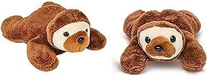 AP 两 (2) 个可爱的毛绒迷你棕色树懒 ~ 12.7 厘米 ~ 带 4 个悬挂树懒贴纸 ~ 雨林玩具 毛线帽 丛林 亚马逊动物 袜子 填充物 礼物