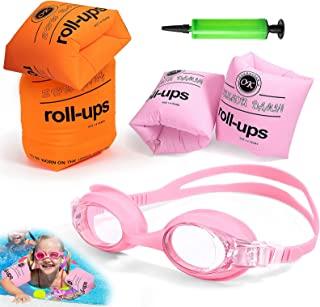 儿童手臂浮动,4 件装游泳训练器浮带防雾防漏儿童游泳护目镜和充气器,PVC 手臂浮动充气游泳臂带浮动袖游泳环