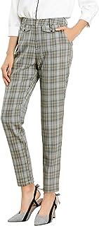 Allegra K 女式格子高腰直筒办公九分裤