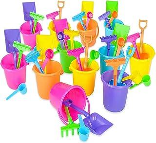 沙滩桶和铲套装 - (12 件装)派对沙箱玩具套装和沙滩沙桶包括 3-1/4 英寸迷你桶、铲子、岩石、勺沙滩沙玩具,适合生日或美人鱼主题主题