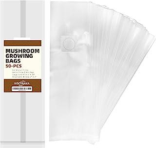 50 件蘑菇生长袋 超厚 6 密耳袋 大号 6 英寸 X 5 英寸 X 0.2 英寸 0.2 微米过滤 透气 微粒袋 可站立耐用袋 - 抗撕裂