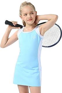Willit 女孩网球高尔夫连衣裙套装儿童棉质无袖运动连衣裙带短裤