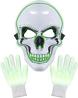 万圣节面具 LED 手套 万圣节发光面具 LED 服装面具适用于万圣节服装节日角色扮演派对用品