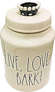 Rae Dunn 洋红色陶瓷宠物零食罐 刻字: 生活、爱、野狗带皇冠顶
