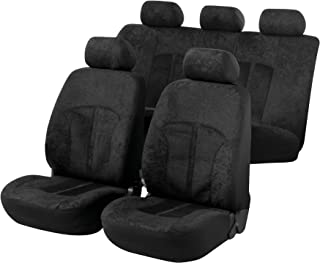 Walser 汽车座套天鹅绒带拉链,Zipp-IT座椅套汽车,完整套装,2个前座套,1个后座黑色11788
