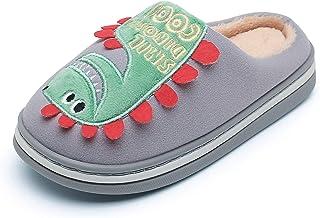 男孩女孩可爱家居拖鞋卡通恐龙拖鞋一脚蹬*泡沫家居鞋毛绒冬季拖鞋室内户外