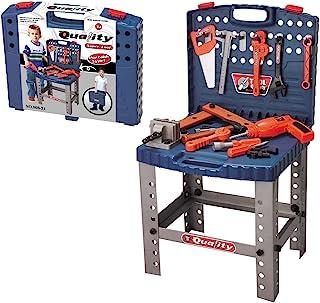 Smart Builder STEM 玩具工具工作台 - 包括 12 个真实悬挂工具和电动钻工车间套装,适合所有年龄段