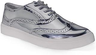 房间 OF 时尚 ROF 女式时尚金属 SADDLE shiny 系带厚底牛津鞋子