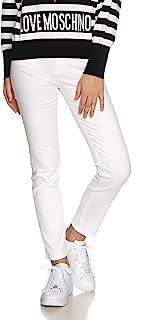 Moschino 女士 Gabardine 紧身长裤带彩色硬件_心形刺绣在后口袋上。 休闲裤